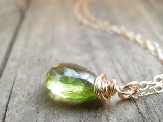 CIJ Peridot Necklace, Princess Spring Green Necklace, Rough Cut Peridot Necklace, August Birthstone Necklace, Gold Filled Necklace on Etsy, $40.00
