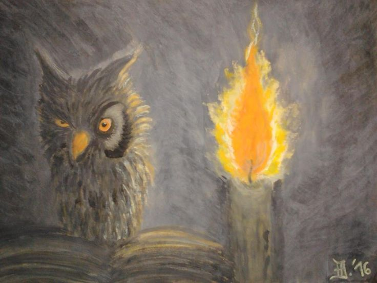 """Zátiší II"",...Still Life, owl, candle... Watercolor/tempera"