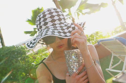 【iamyuri】チェック柄ラフィア 帽子