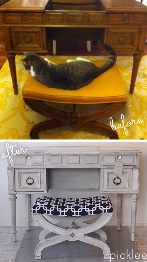 Old Hollywood Vanity Before & After, #chalkpaint