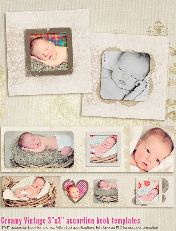 Creamy Vintage 3x3 Accordion book templates by 7thavenuedesigns, $10.00