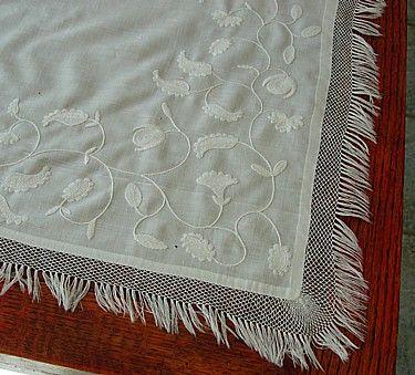Em's Heart Antique Linens -Antique Embroidered Wedding Shawl