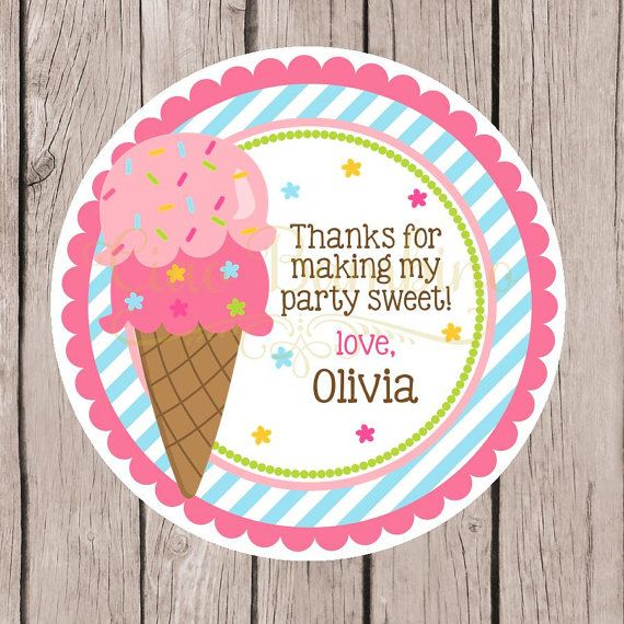 Printable ice cream birthday party favor tags print your own tags or stickers for ice cream party you print