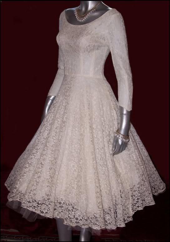 Tea Length 50s Vintage Ivory Lace WEDDING BRIDAL DREAM DRESS   Figure 8 Studio