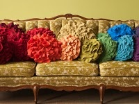 fun couch with pillows.: Ideas, Craft, Color, Flower Pillow, Sweater Pillow, Rainbow, Pillows