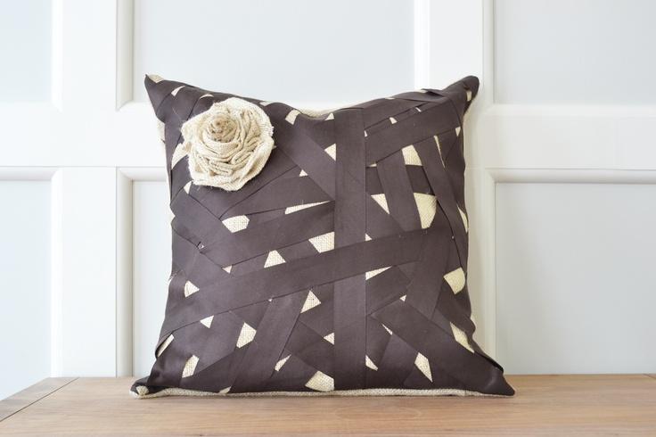 My DIY burlap ribbon pillow