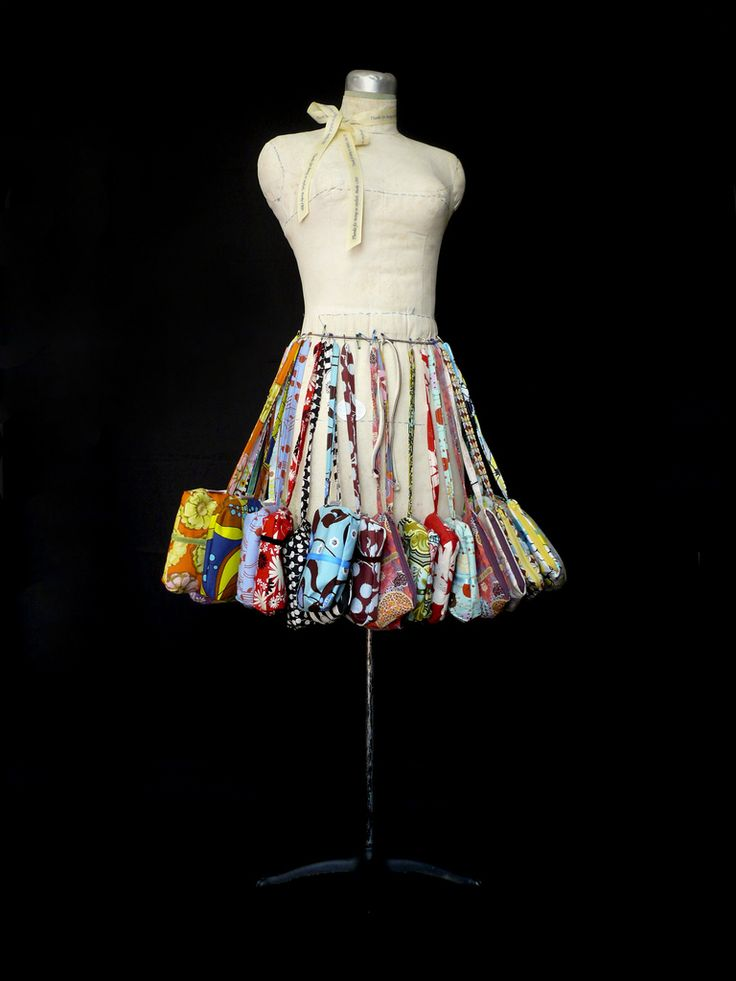 A mannequin purse skirt. Easy and eye-catching!