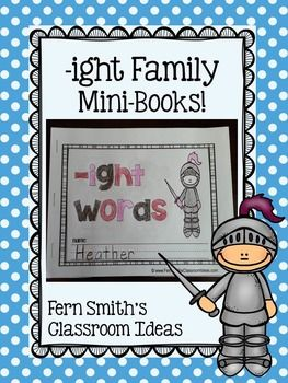 Printable Phonics Mini-Books for the -ight Family #TPT $Paid