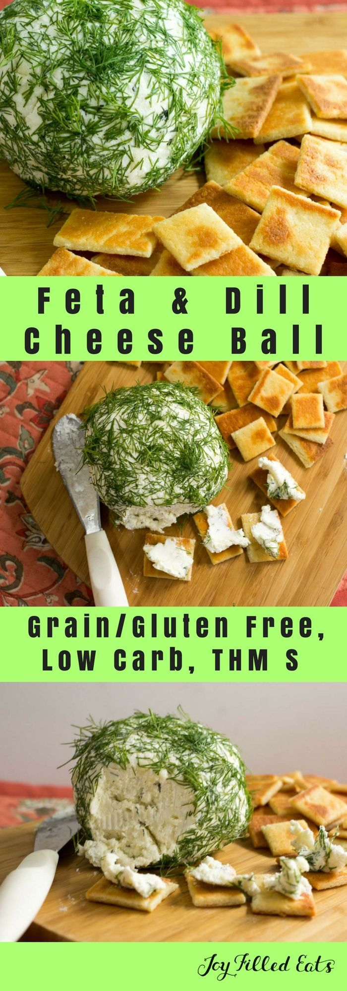 Feta & Dill Cheese Ball - Low Carb, Grain & Gluten Free, THM S - Five ingredients, five-minute prep.  -This is a great warm weather snack or appetizer. With five ingredients and a five-minute prep it comes together in no time. via @joyfilledeats