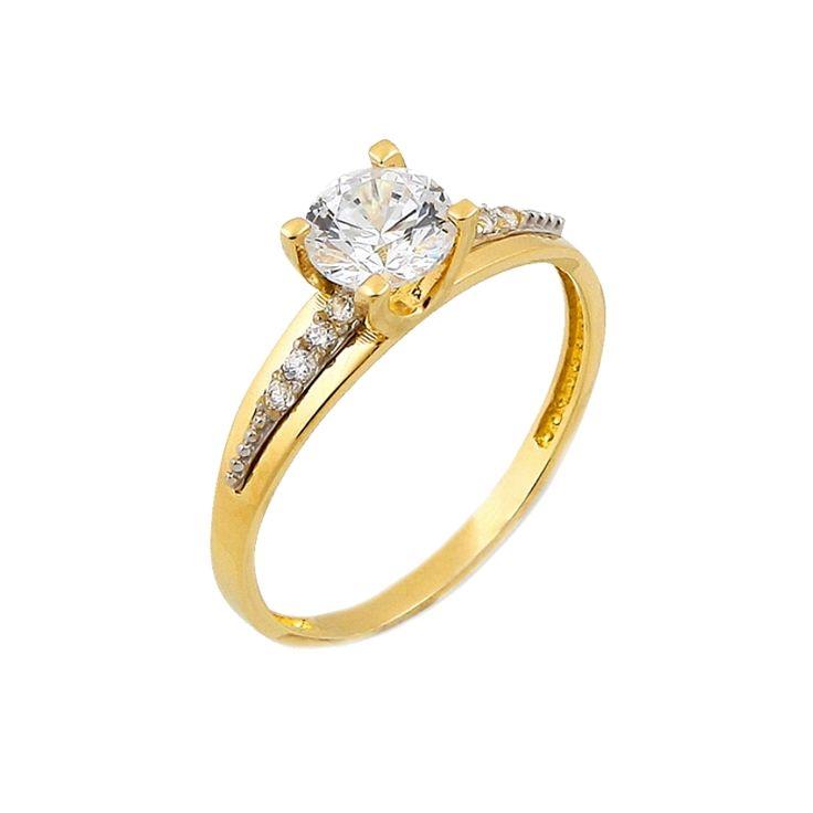 Μονόπετρο δαχτυλίδι, κίτρινο χρυσό Κ.14 (585°) με λευκές πέτρες ζιργκόν Swarovski®.  #tasoulis_jewellery #gold #ring #k14 #μονόπετρο #δαχτυλίδι #χρυσό #αρραβώνας #engangement #swarovski
