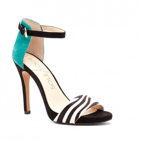 Animal Print and Emerald Suede Ankle Strap Heel