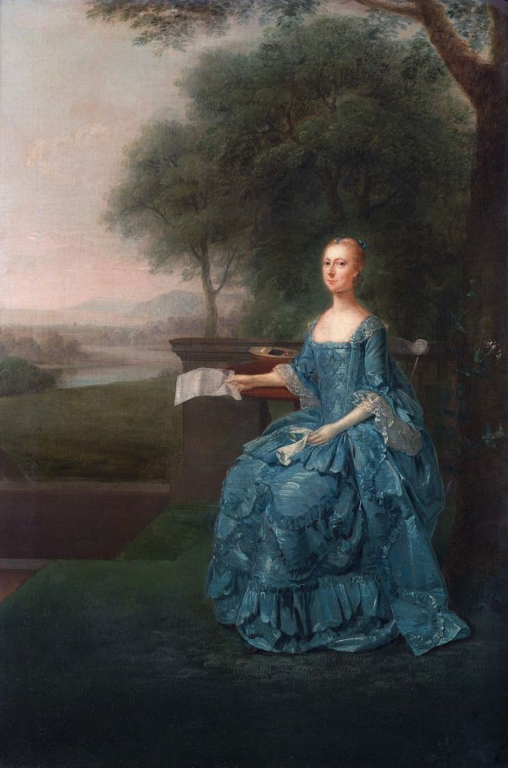 Anne Streatfeild, née Sidney, natural daughter of the 7th Earl of Leicester and wife of Henry Streatfeild by Arthur Devis, 1756.