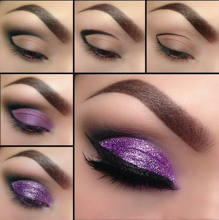 Glittering purple is really the hot topic this month, its just such amazing colour for the eyes, with its outstanding glow and its classic style will just have you on the centre of attention no matter the event you'll be attending. 1. Start with a thin black brush from the outside corner of the eye…