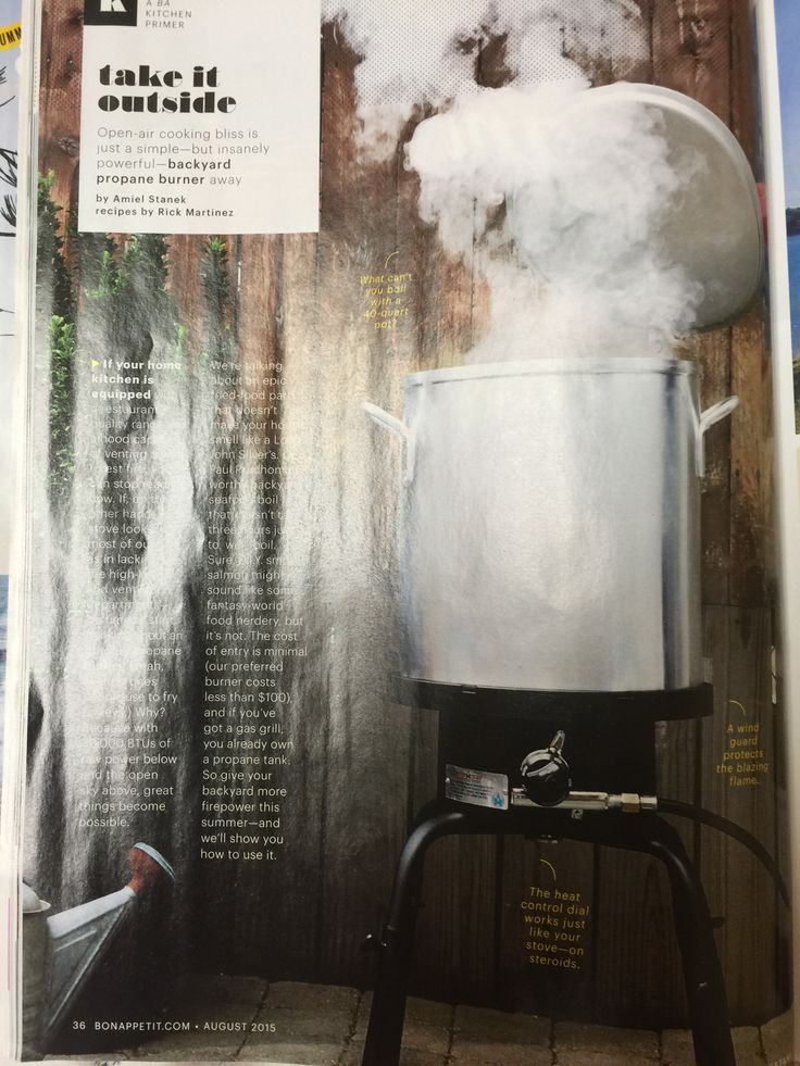 Alternative use of Outdoor propane burner (aka turkey deep fryer).  Bon appetit August 2015 issue pg. 36 #smoker #marinara #shellfishboil