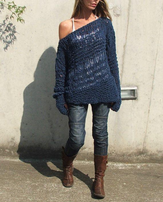 Blue sweater / Electric blue asymmetrical Version2 by ileaiye, $115.00