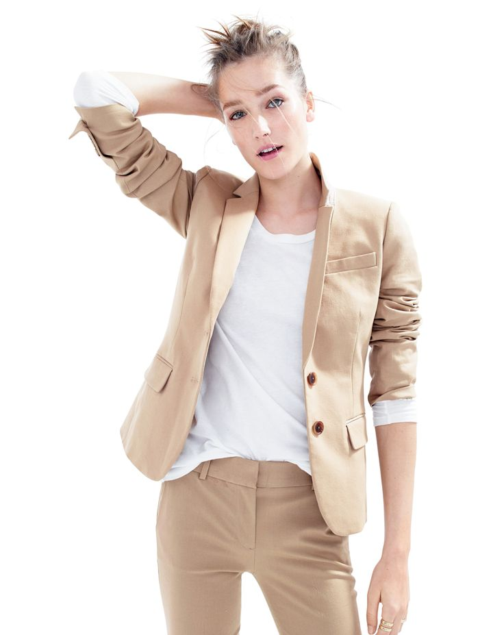 J.Crew women's Thompson blazer and Cambell trouser bi-stretch cotton suit in dusty dune.