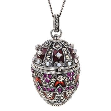Jewelled Egg - ANASTASIA - Ruby, Pearl and Marcasite