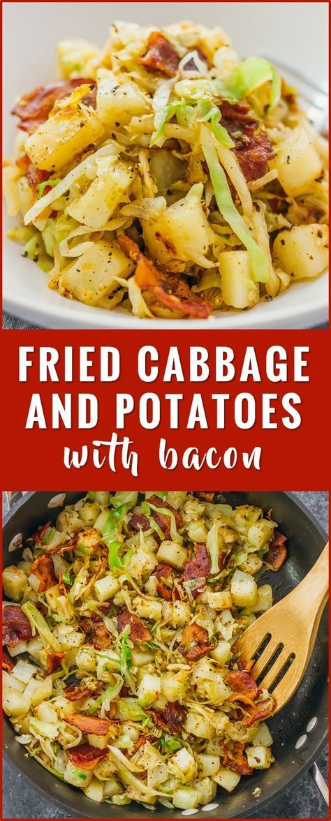 This is a really easy fried cabbage and potatoes recipe with crispy bacon. Only six ingredients and one pan needed. soup, recipes, rolls, pickled, steaks, boiled, sauteed, fried, casserole, salad, roasted, stuffed, cabbage and sausage, southern cabbage, kielbasa, healthy, vegetarian, sauteed via @savory tooth