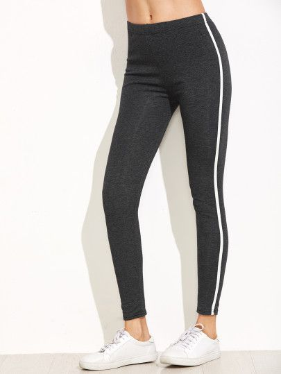 Leggins con rayas laterales - gris oscuro-Spanish Romwe