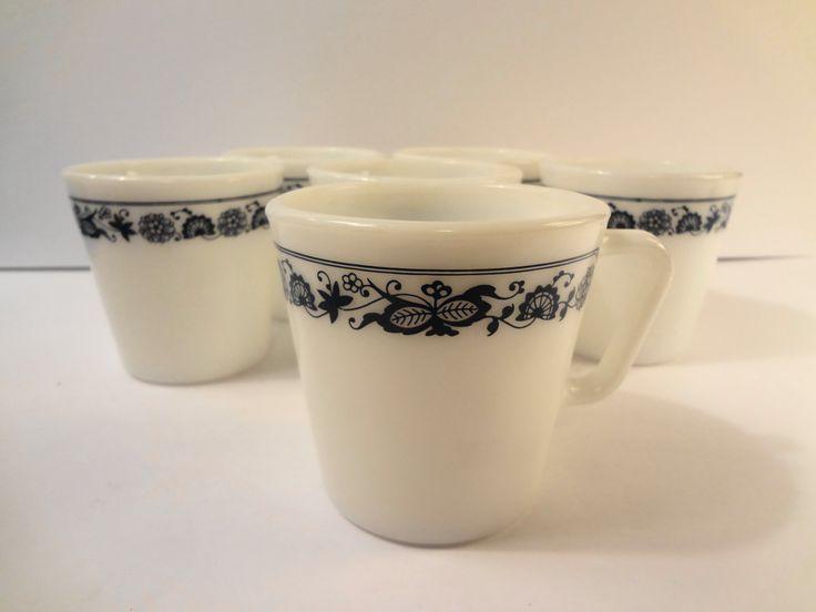 6 Vintage Pyrex Old  Town /Towne Milk Glass Blue Onion D Handle Coffee Tea Cup Mug #1410 USA #1 by TresTresInteressant on Etsy