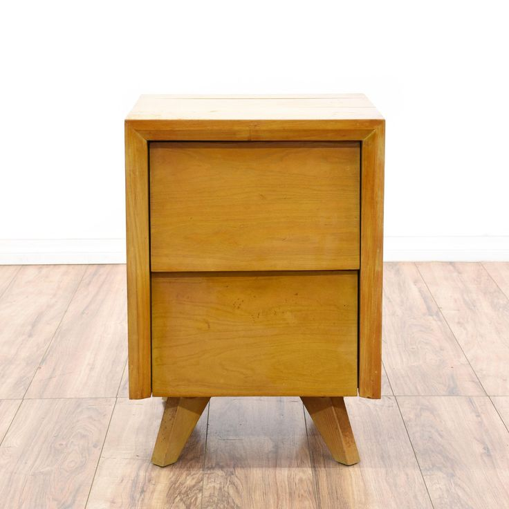 Good This Nightstand Is Featured In A Solid Wood With A Glossy Maple Finish.  This Mid Century Modern Bedside Table Has 2 Spacious Drawers, Sturdy  Tapered Legs, ... Design Inspirations