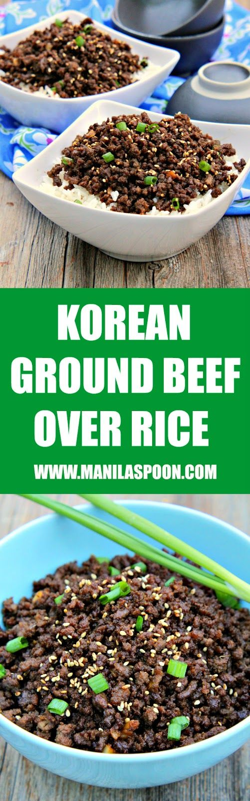 Sweet, salty, with a little spicy kick, if you like, this quick and easy Korean Ground Beef over Rice will please your taste buds! Done in 20 minutes or less. Can be made Paleo-friendly.   manilaspoon.com