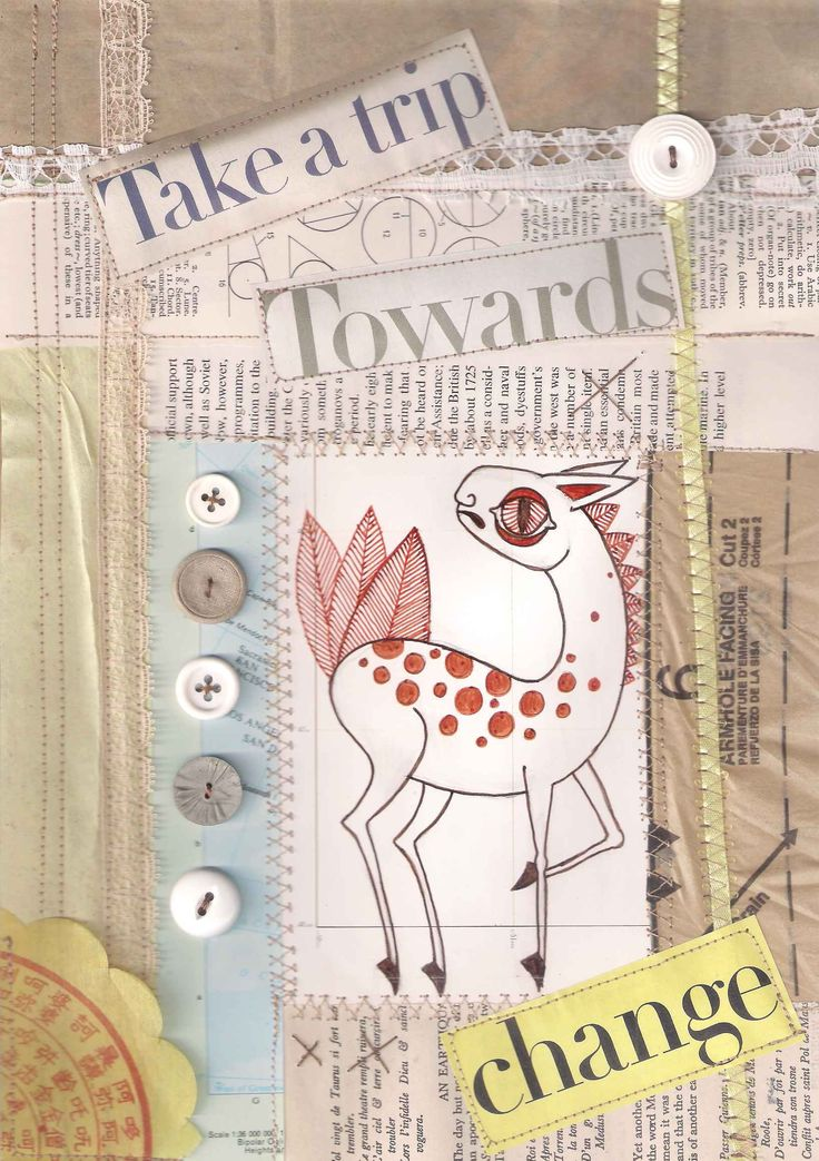 Mixed media wall art, collage wall art, antelope wall art, text in art, mixed media art, collage art, antelope art animal art, sewn wall art by ElizabethAngusArt on Etsy