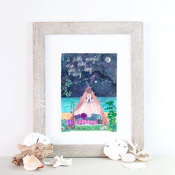 Boho moon magic camping print  A4  watercolour Roald Dahl