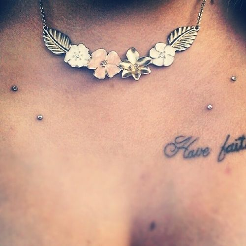 Collar bone piercing.  I would add the sternum piercing to it as well.