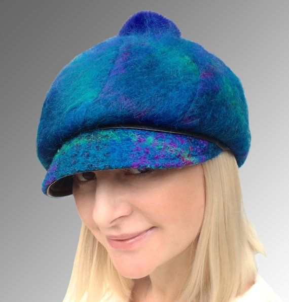 Warm Fuzzy Mohair Fabric Blue Purple Teal Newsboy Cap Cloche Leather Trim Royal Blue Fur Pompom Medium CUSTOM MADE