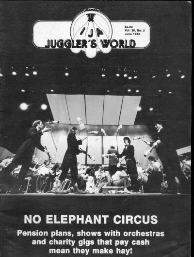 """The No Elephant Circus brings a new dimension to orchestra, and some bright ideas to non-profit circus in America! by Bill Giduz Juggler's World, June 1984. Kids squeal as the members of the No Elephant Circus dash on stage to begin their """"Circus and Symphonies"""" show. For the next hour, they join musicians in presentations of popular classical pieces such as Stravinsky's """"Petruchka,"""" Tchaikovsky's """"Capriccio Espagnol,"""" and Rossini's """"William Tell Overture."""""""