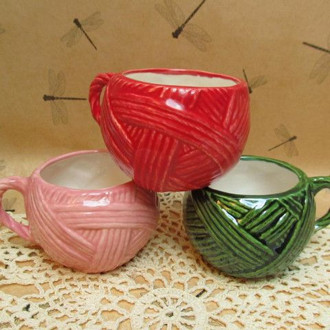 $15.00 Looking for these? Here they are! Neatly Wrapped yarn ball cup — HaldeCraft