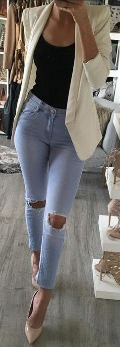 denim + high heels / fall outfits