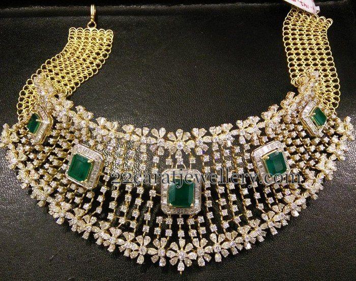 18 Ct Gold Splendid Diamond Choker | Jewellery Designs