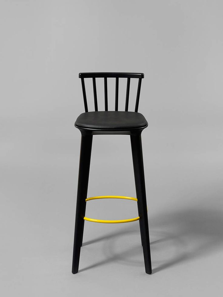 Lovely Black Stained Jackie High Bar Stool With Black Footrest Good Ideas