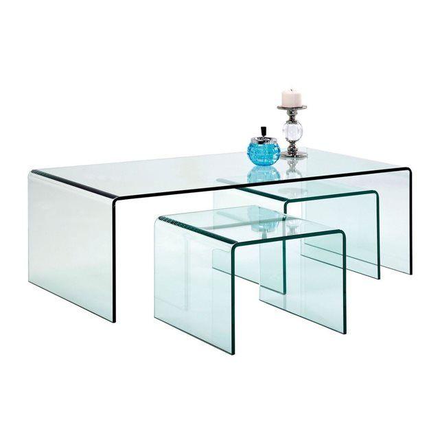 Table Basse Transparente Clear Club 3/set Kare Design KARE DESIGN : prix, avis & notation, livraison. Un ensemble de 3 tables basses en verre de 12 mm d épaisseur pour apporter de la transparence à votre intérieur. Très pratique, les petites tables d appoint font 32 cm de hauteur, 40 cm de largeur et 36 cm de longueur. A la fois élégant et originale, cette table de salon permet de mettre en valeur vos meubles et votre tapis grâce à son style épur&...