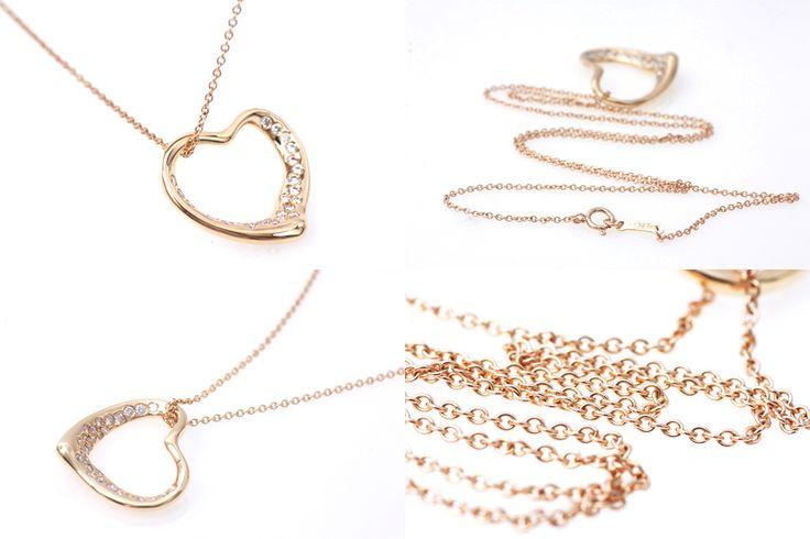 ■ティファニー(Tiffany&Co.) オープンハート ダイヤネックレス K18YG■