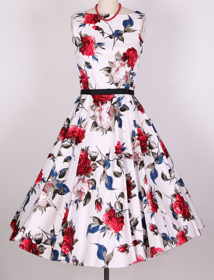 1950s hepburn rose swing dress 20121209 [20121209] - £29.99 : Queen of Holloway, Dressing Shop