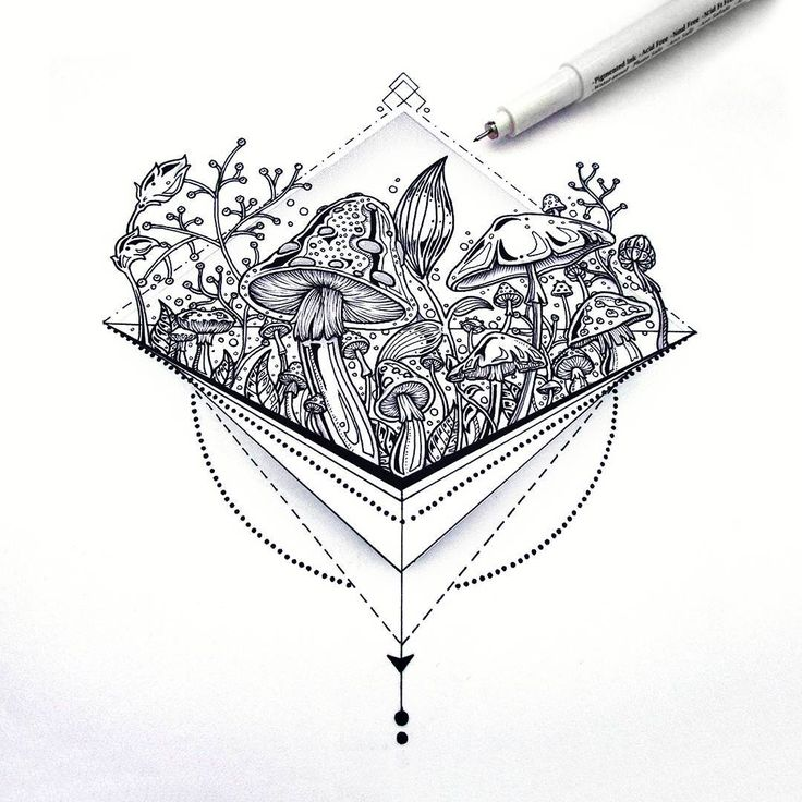 Geometric mushroom tattoo design - Saphiriart on Instagram
