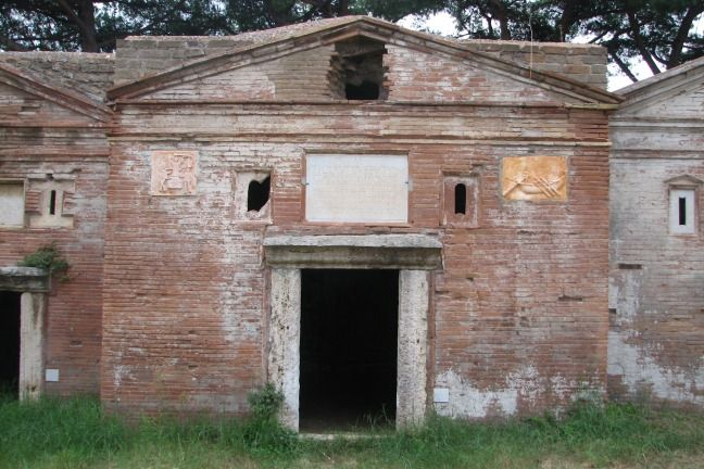 One of the tombs in the Isola Sacra cemetery