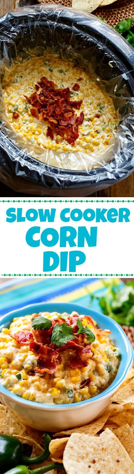 Slow Cooker Corn Dip with bacon and jalapenos. Makes an easy game day appetizer and no clean up if you use a Reynolds Slow Cooker Liner!
