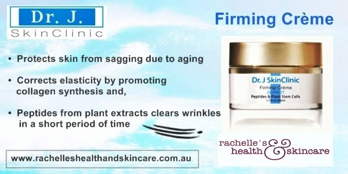 Dr J SkinClinic Firming Creme.  Protects skin from sagging due to aging, corrects elasticity to skin by promoting collagen synthesis and the peptide from plant extract clears wrinkles in short period of time.  See more http://www.rachelleshealthandskincaredistribution.com.au/store/drj_skinclinic/html/firming-creme.html