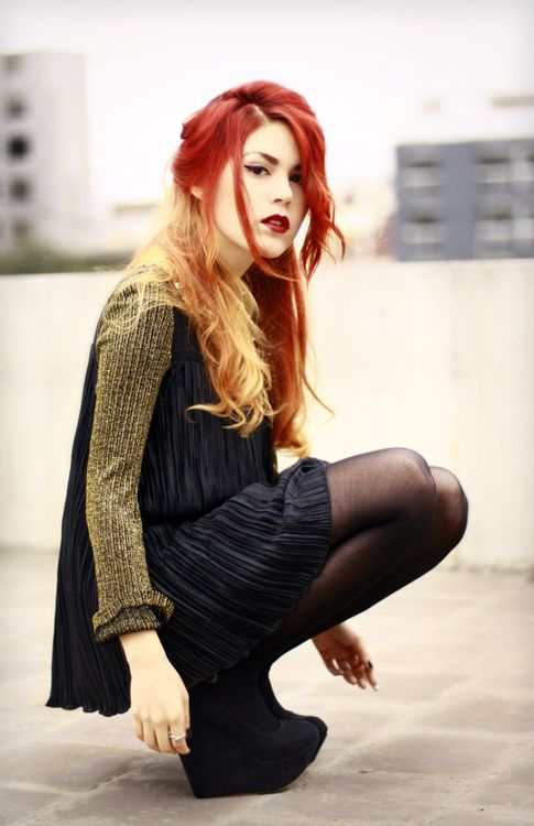 fire hair. Red with blonde peekaboo.