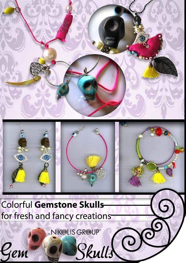 colorful gemstone skulls and fashion materials