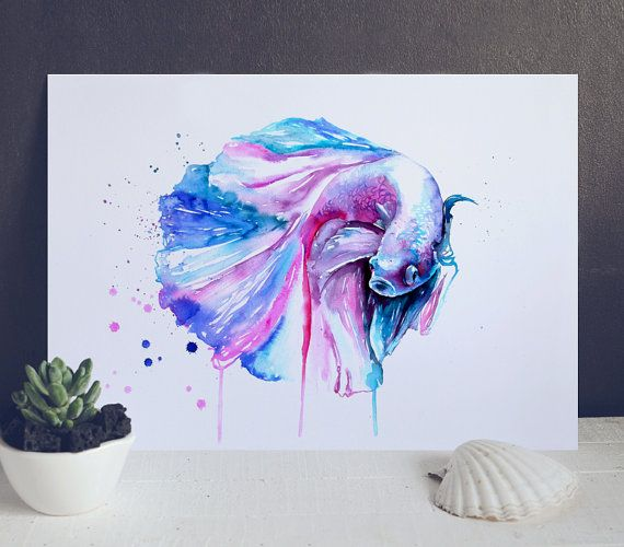 56 best fish watercolor images on pinterest draw fish for Betta fish painting