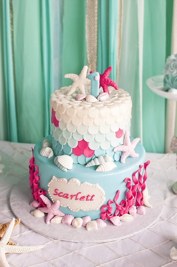 2-tier 1st birthday cake from Littlest Mermaid 1st Birthday Party at Kara's Party Ideas. See more at http://karaspartyideas.com!