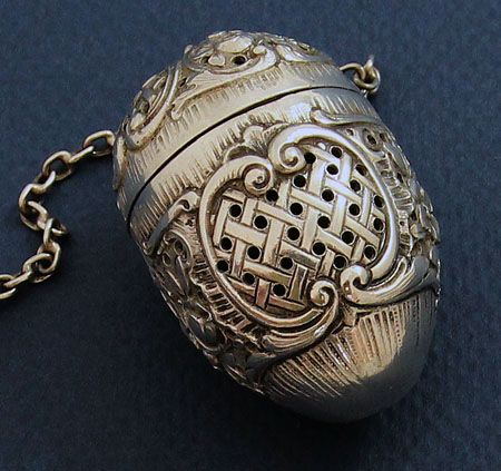 German oval antique 800 silver tea ball