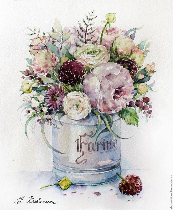 Скетчи открыток с цветами, анимации букеты