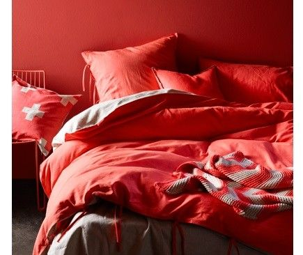 AURA Mason Quilt Cover set in Neon Coral, available at Forty Winks