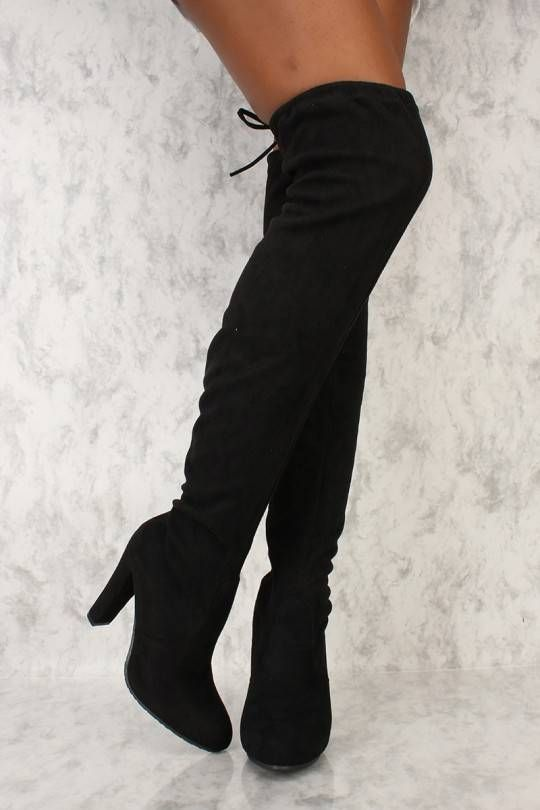 734a754e235 Black Round Toe Chunky Ami Clubwear Thigh High Boots Faux Suede in ...